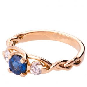 Braided Three Stone Engagement Ring Rose Gold and Sapphire 7