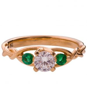 Braided Three Stone Engagement Ring Rose Gold Diamond and Emeralds 7T