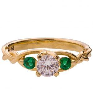 Braided Three Stone Engagement Ring Yellow Gold Diamond and Emeralds 7T
