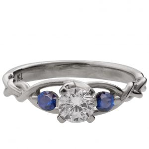 Braided Three Stone Engagement Ring White Gold Diamond and Sapphires 7T