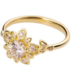 Flower Engagement Ring Yellow Gold and Moissanite 2B