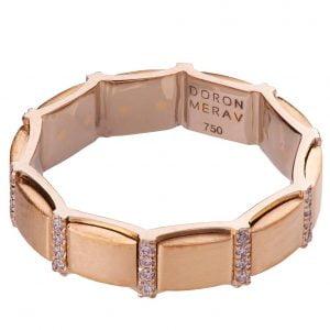 Two Tone Diamond Wedding Ring Rose Gold R015