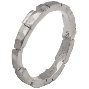 Bricks Wedding Band White Gold 2