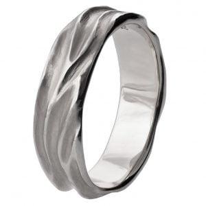 Dune Wedding Band White Gold 2