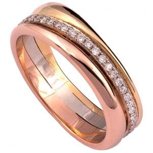 Geo Eternity Tricolor Diamond Wedding Band 3D