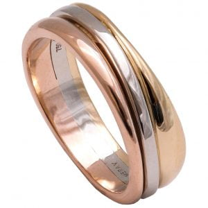 Geo Eternity Tricolor Wedding Band 3