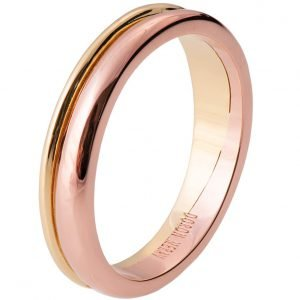 Geo Two Tone Wedding Band Yellow and Rose Gold 2
