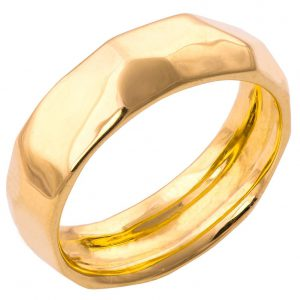 Hammered Wedding Band Yellow Gold 1