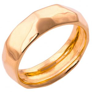 Hammered Wedding Band Rose Gold 1