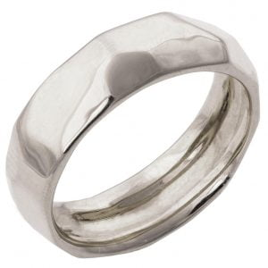 Hammered Wedding Band White Gold 1