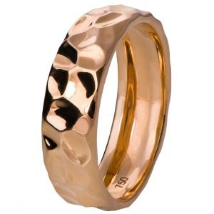Hammered Wedding Band Rose Gold 2