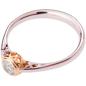 Two Tone Engagement Ring Rose Gold and Diamond R017