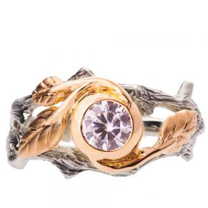 Twig and Leaf Engagement Ring Rose Gold and Diamond 8