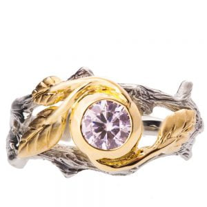 Twig and Leaf Engagement Ring Yellow Gold and Diamond 8
