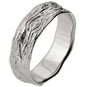 Twig Wedding Band White Gold 9