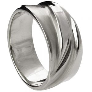 Wave Wedding Band White Gold 4