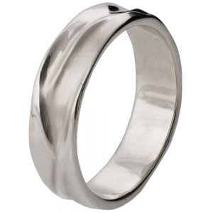 Wave Wedding Band White Gold 5