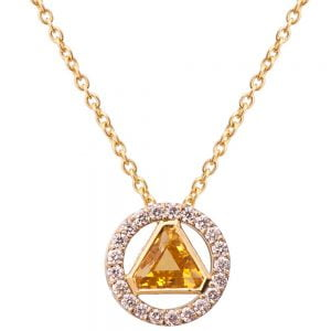 Triangle Pendant Yellow Gold and Diamonds