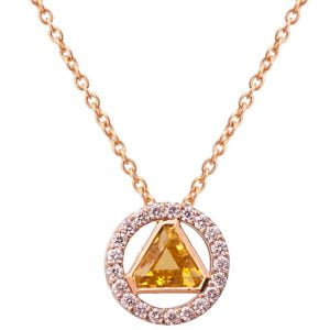 Triangle Pendant Rose Gold and Diamonds