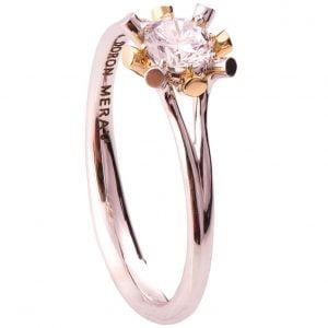 Sunburst Two Tone Engagement Ring Rose Gold and Diamond R019
