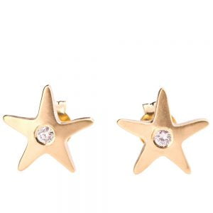 Starfish Earrings Rose Gold and Diamonds