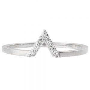 V Ring White Gold and Diamonds R021