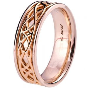 Two Tone Celtic Wedding Band Rose Gold 9M