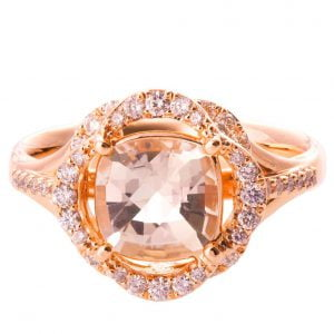 Lotus Engagement Ring Yellow Gold and Morganite R022