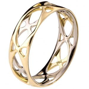 Two Tone Wedding Band Yellow Gold Grid 6