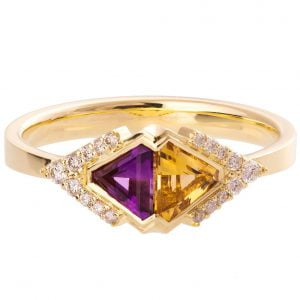 Art Deco Triangles Engagement Ring Yellow Gold Citrine and Amethyst R026