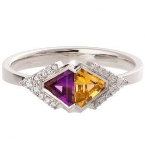 Art Deco Triangles Engagement Ring White Gold Citrine and Amethyst R026