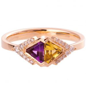Art Deco Triangles Ring Rose Gold Citrine and Amethyst R026