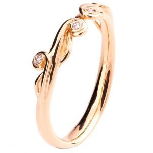 Celtic Wedding Band Rose Gold and Diamonds 17