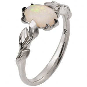 Leaves Opal Engagement Ring White Gold 14