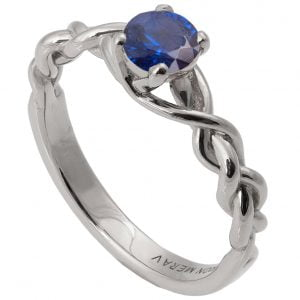 Braided Engagement Ring Platinum and Sapphire 2