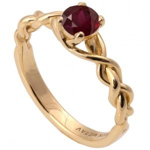Braided Engagement Ring Yellow Gold and Ruby 2