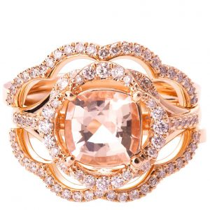 Lotus Bridal Set Rose Gold and Morganite R022