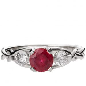 Braided Three Stone Engagement Ring White Gold and Ruby 7