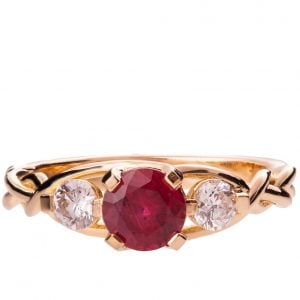 Braided Three Stone Engagement Ring Rose Gold and Ruby 7