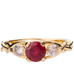 Braided Three Stone Engagement Ring Yellow Gold and Ruby 7