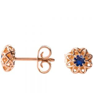 Celtic Earrings Rose Gold and Sapphires e001