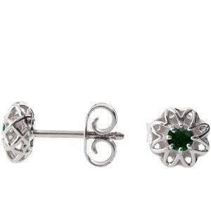 Celtic Earrings Platinum and Emeralds e001