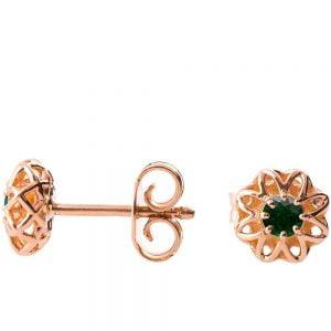 Celtic Earrings Rose Gold and Emeralds e001