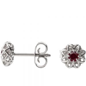 Celtic Earrings Platinum and Rubies e001