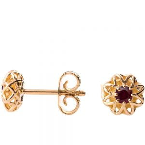 Celtic Earrings Yellow Gold and Rubies e001
