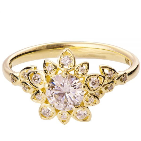 Flower engagement ring yellow gold and moissanite 2b doron merav flower engagement ring yellow gold and moissanite 2b mightylinksfo
