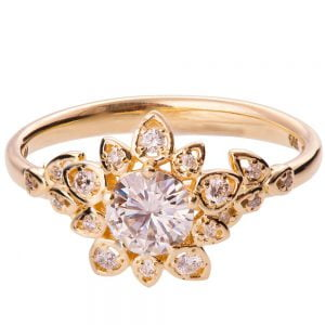 Flower Engagement Ring Rose Gold and Moissanite 2B