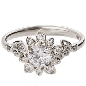 Flower Engagement Ring White Gold and Moissanite 2B