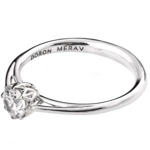 Leaves Engagement Ring White Gold and Moissanite R024