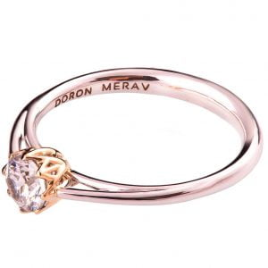 Leaves Two Tone Engagement Ring Rose Gold and Diamond R024